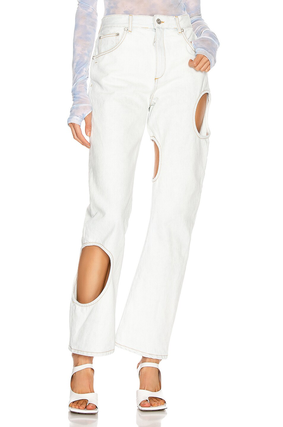Image 1 of OFF-WHITE Hole Baggy Straight Leg in Light Blue