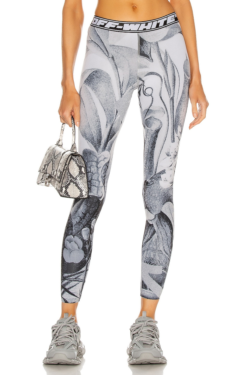 Image 1 of OFF-WHITE Athleisure Botanical Legging in White & Black