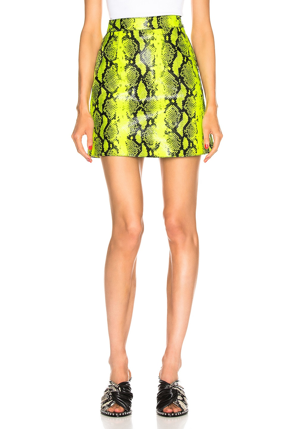 Image 1 of OFF-WHITE Python Zipped Skirt in Fluo Yellow