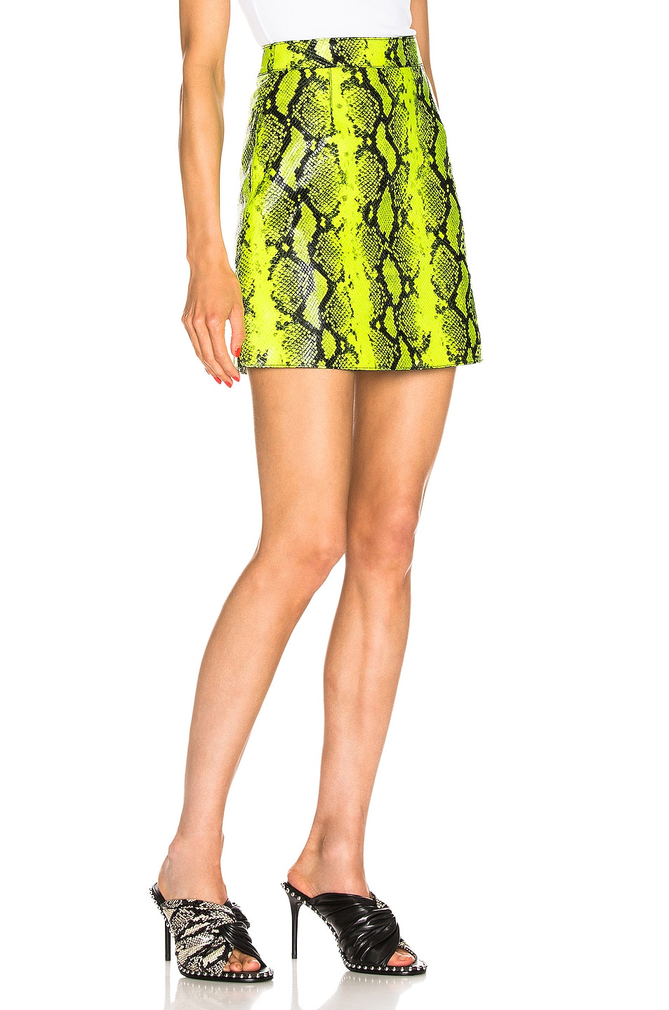 Image 2 of OFF-WHITE Python Zipped Skirt in Fluo Yellow