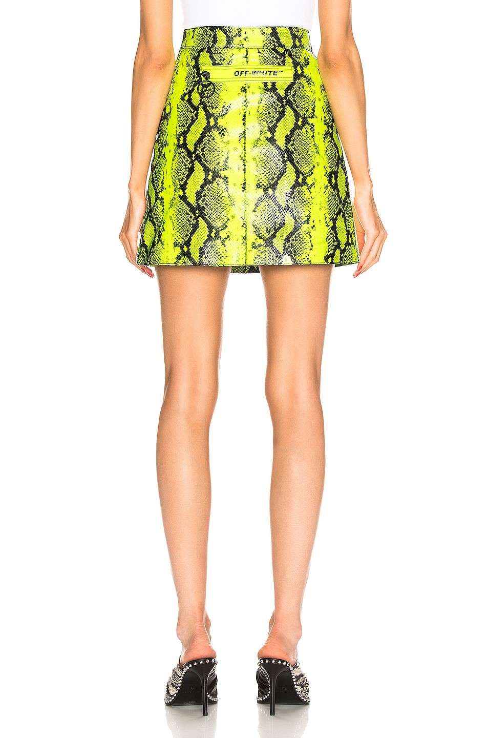 Image 3 of OFF-WHITE Python Zipped Skirt in Fluo Yellow
