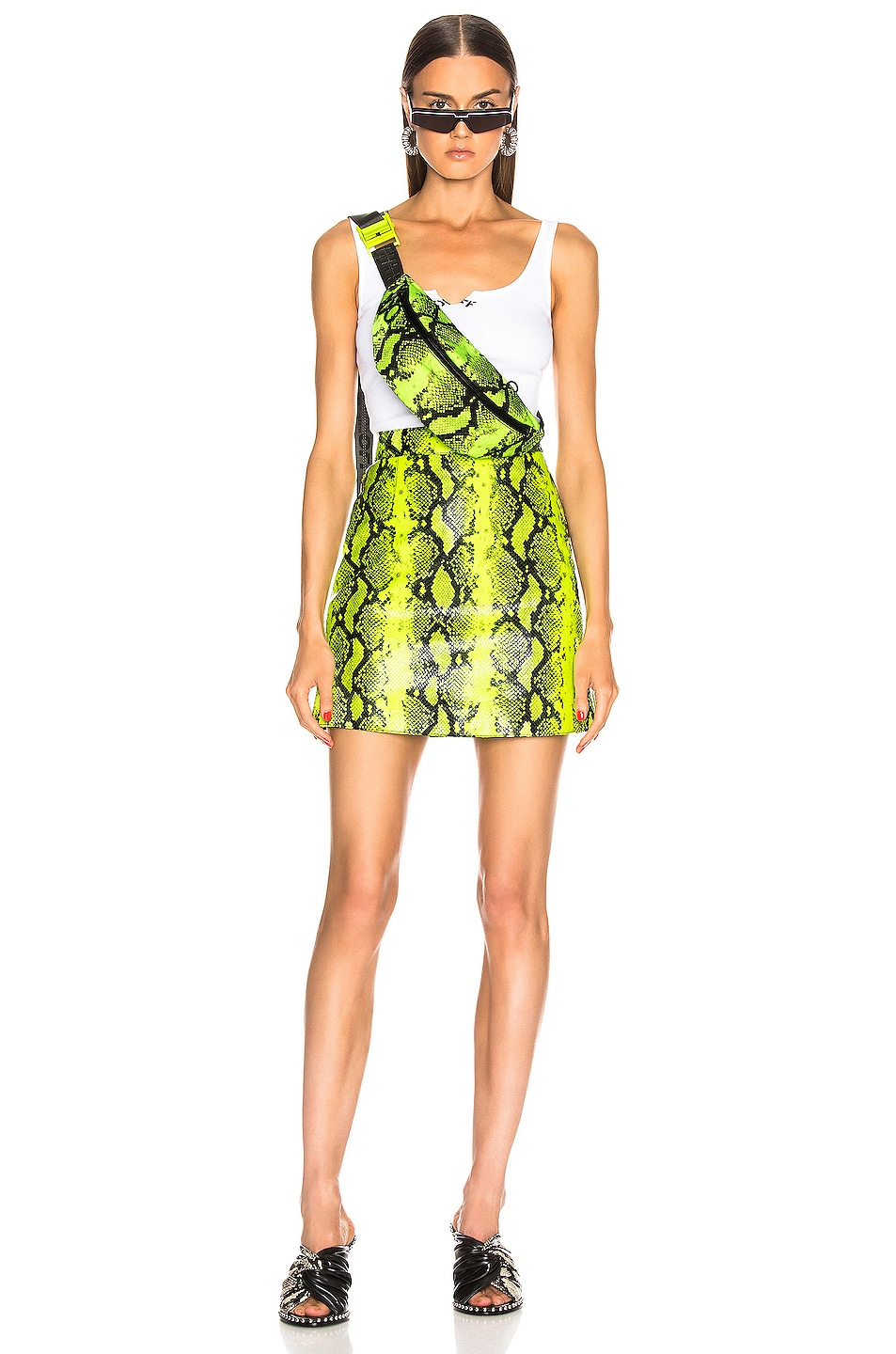 Image 4 of OFF-WHITE Python Zipped Skirt in Fluo Yellow