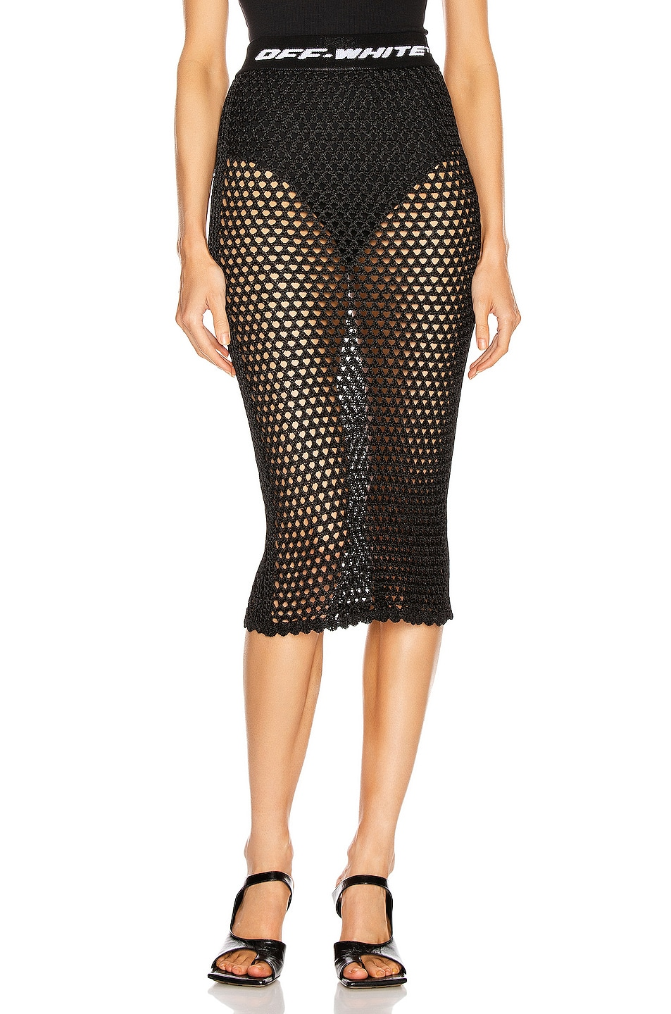 Image 1 of OFF-WHITE Knit Fishnet Skirt in Black