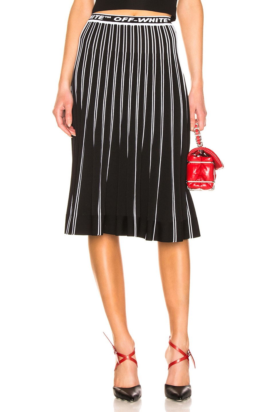 Image 1 of OFF-WHITE Plisse Knit Skirt in Black