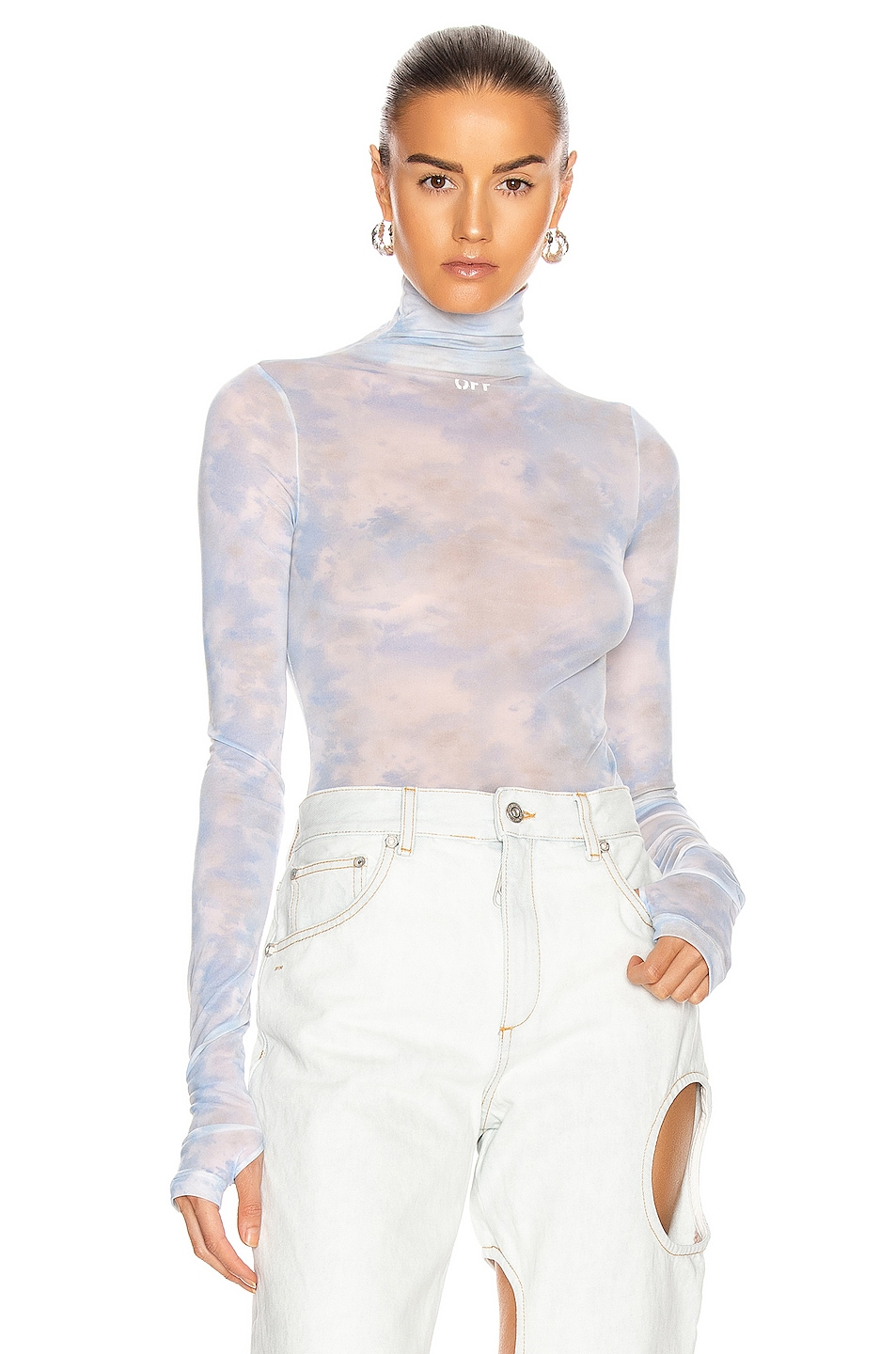 Image 1 of OFF-WHITE Tie Dye Turtle Neck Bodysuit in Light Blue