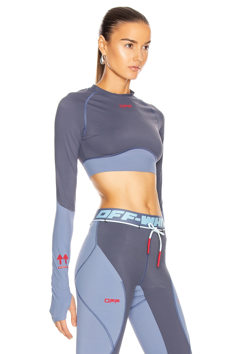 Image 2 of OFF-WHITE Active Long Sleeve Cropped Top in Grey
