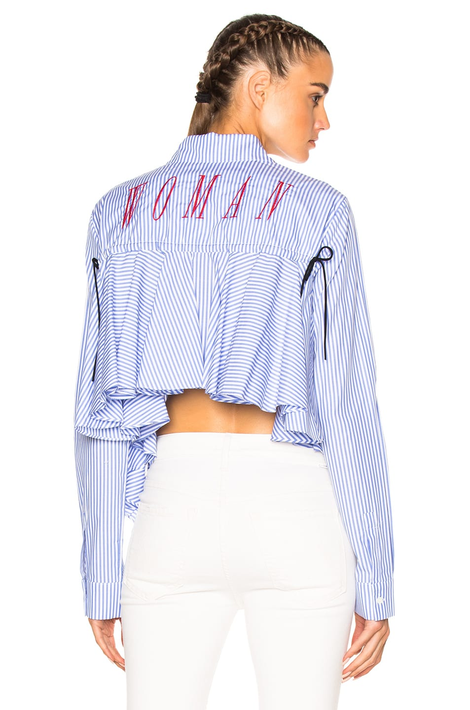 Image 1 of OFF-WHITE Back Ruffle Striped Shirt in All Over Red