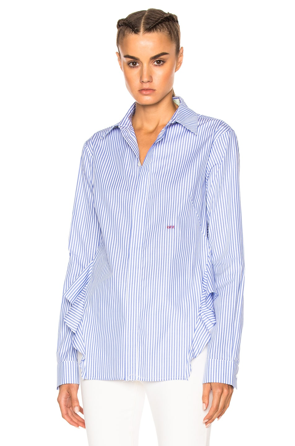 Image 2 of OFF-WHITE Back Ruffle Striped Shirt in All Over Red