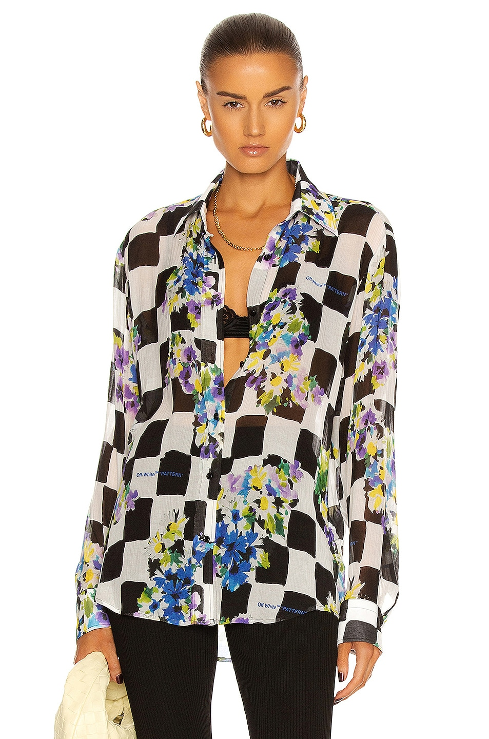 Image 1 of OFF-WHITE Check Flowers Shirt in Black & White
