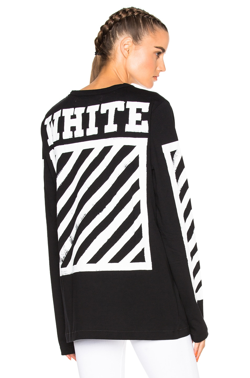 dc65920ef Image 1 of OFF-WHITE Brushed Diagonals Long Sleeve Tee in Black