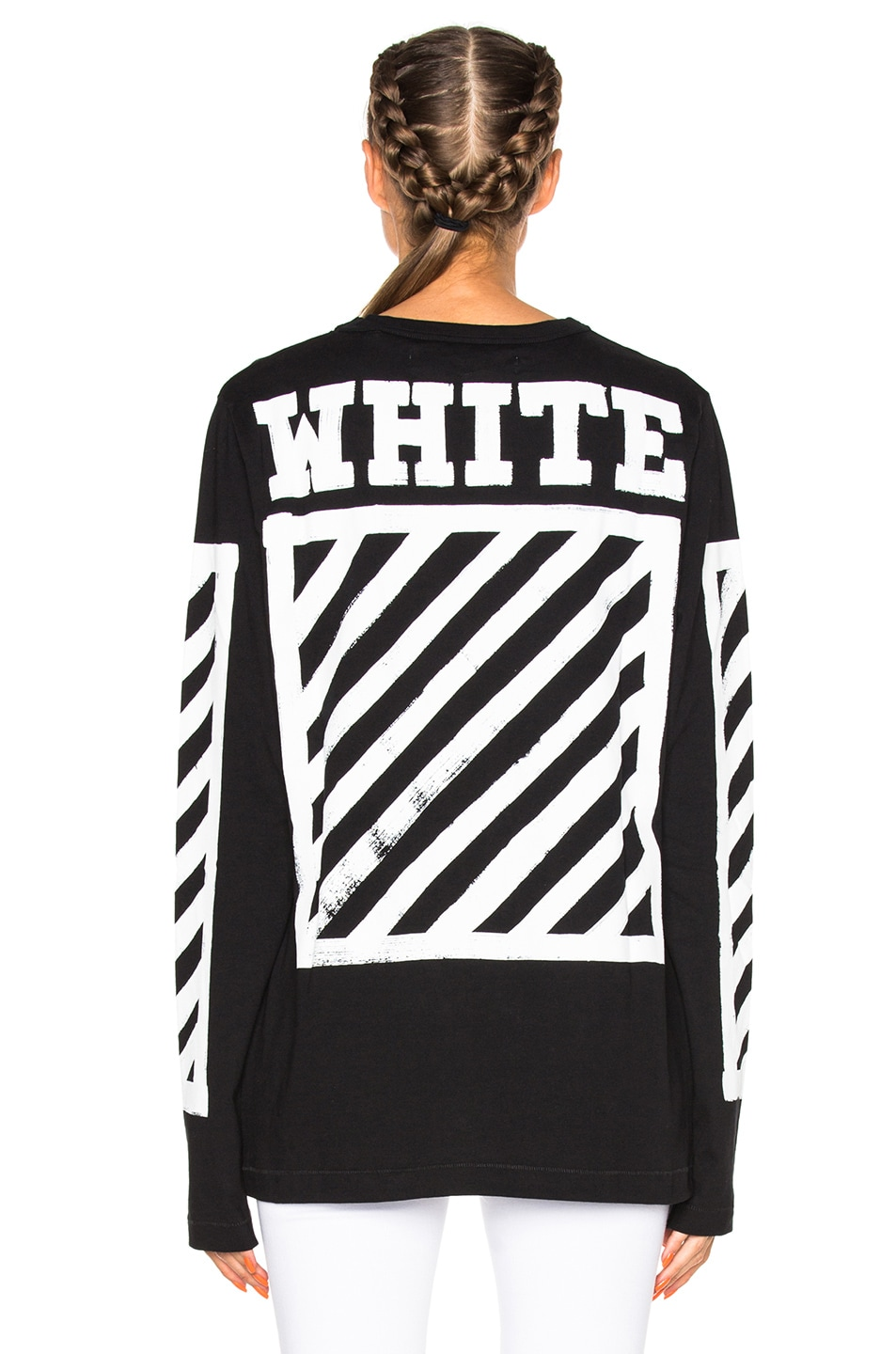 OFF-WHITE Brushed Diagonals Long Sleeve Tee in Black | FWRD