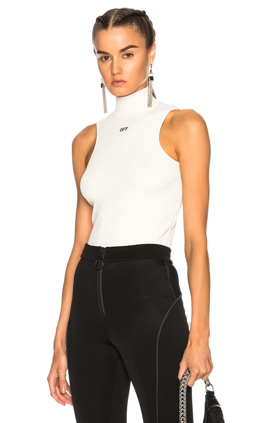 Knit White Inamp; Off Cropped Top BlackFwrd hrsQdCtx