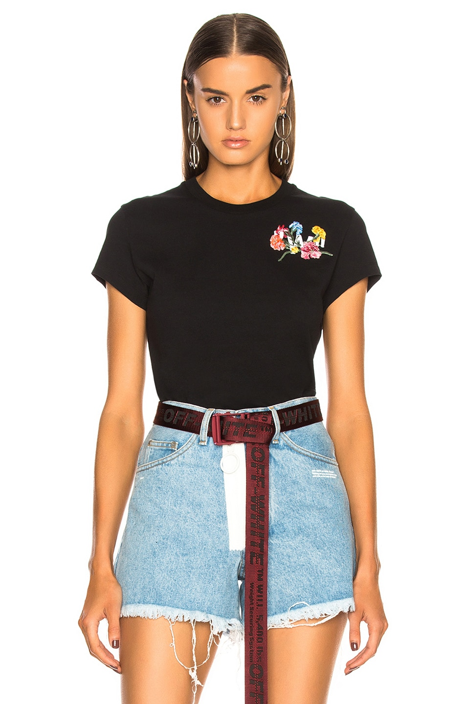 Image 2 of OFF-WHITE Flowers Fitted Tee in Black & Multicolor