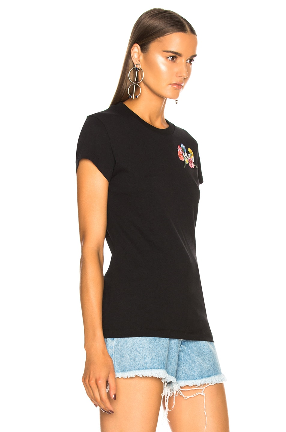 Image 3 of OFF-WHITE Flowers Fitted Tee in Black & Multicolor