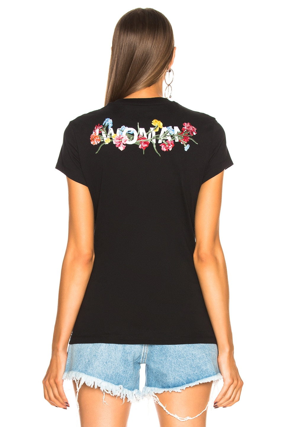 Image 4 of OFF-WHITE Flowers Fitted Tee in Black & Multicolor