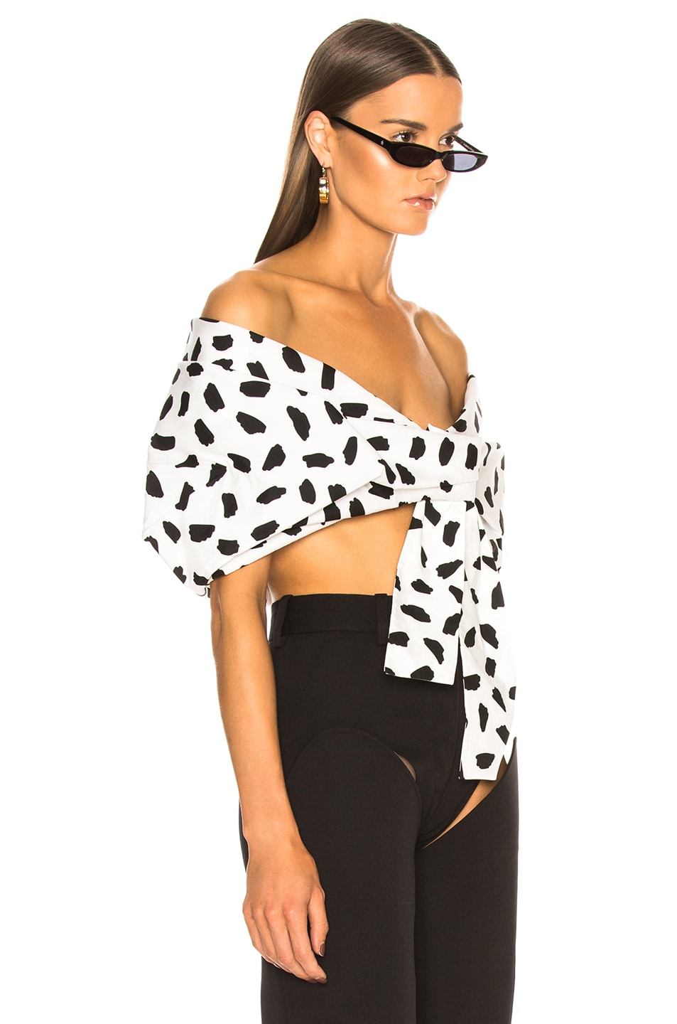 Image 2 of OFF-WHITE Oversize Off the Shoulder Crop Top in Black & White