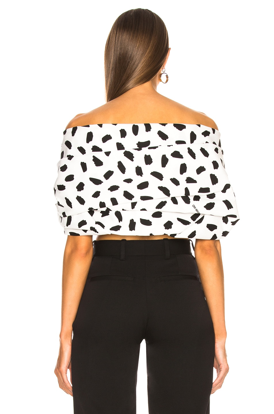 Image 3 of OFF-WHITE Oversize Off the Shoulder Crop Top in Black & White