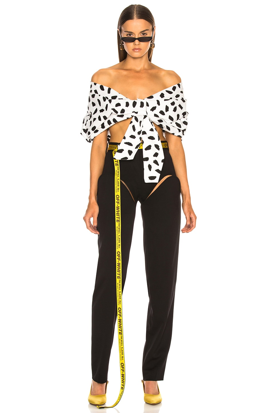 Image 4 of OFF-WHITE Oversize Off the Shoulder Crop Top in Black & White