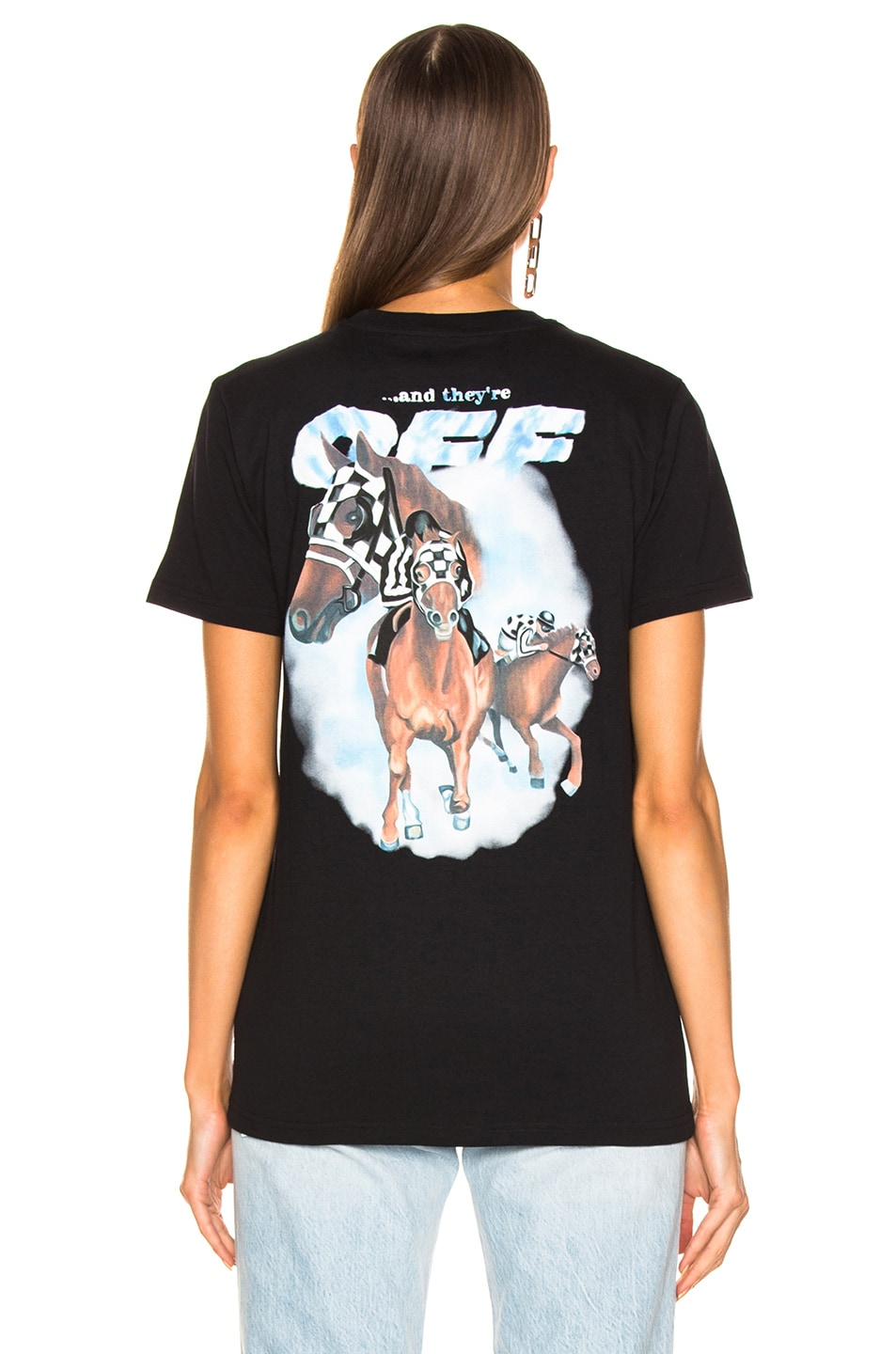 Image 4 of OFF-WHITE Modern Horse Casual Tee in Black Multicolor