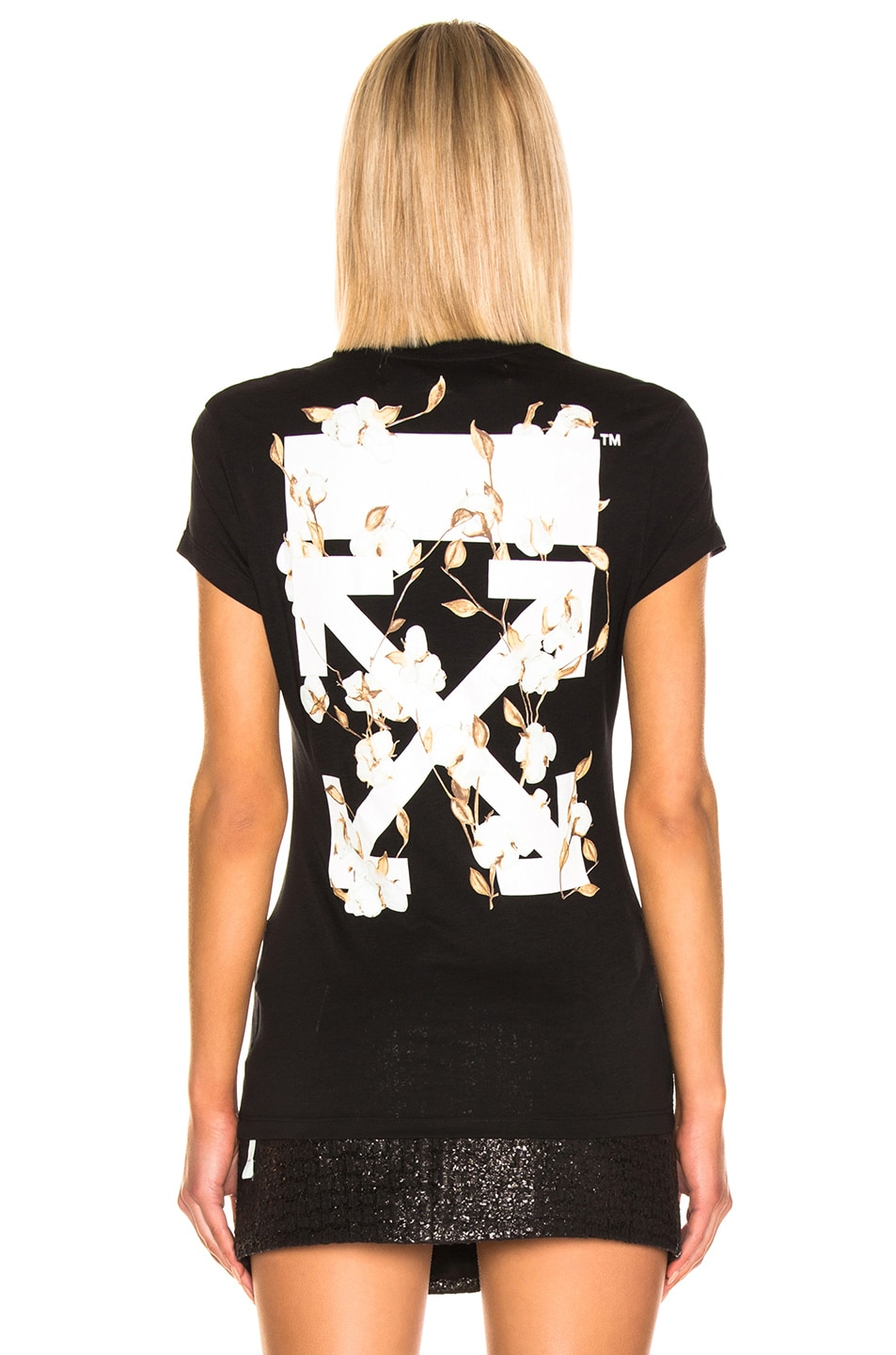 Image 4 of OFF-WHITE Floral Tee in Black