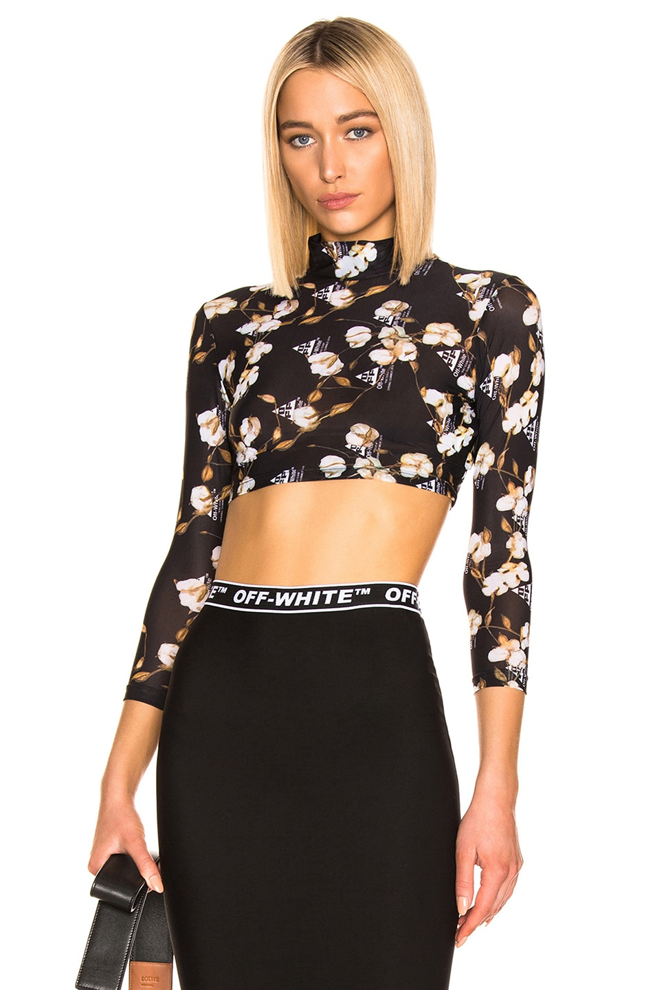 Image 1 of OFF-WHITE Cropped Floral Top in Black