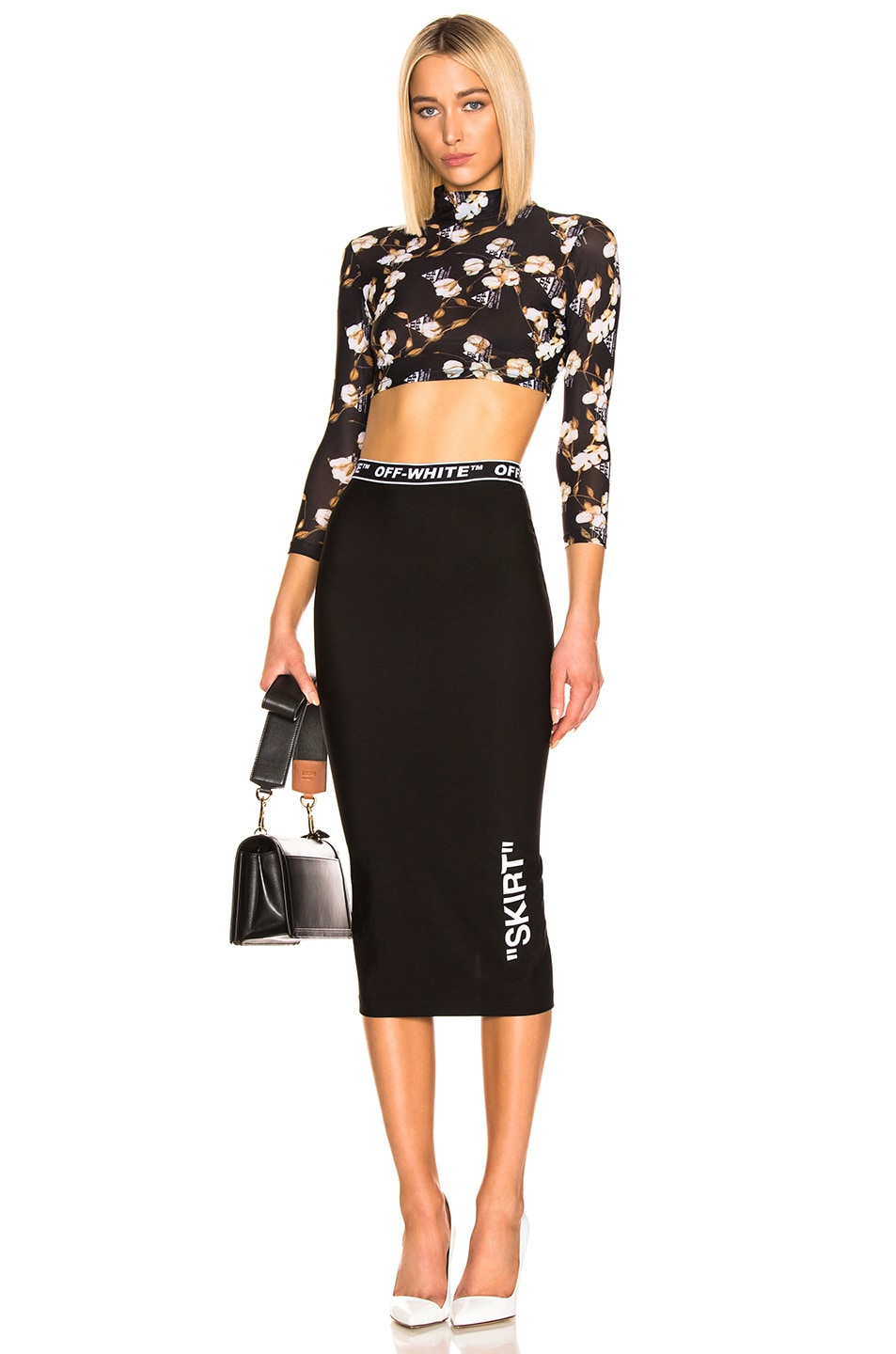 Image 4 of OFF-WHITE Cropped Floral Top in Black