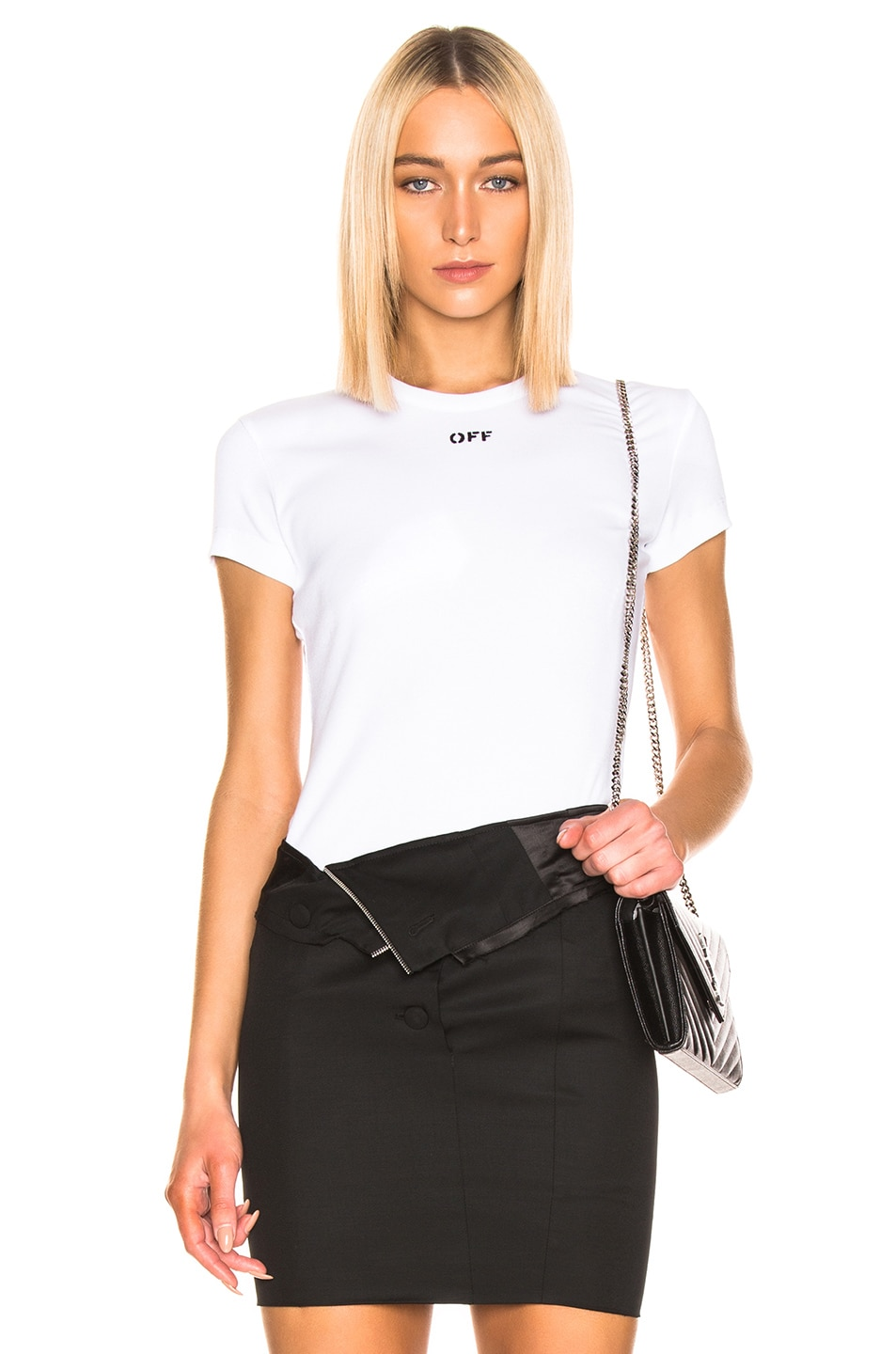 Image 1 of OFF-WHITE Fitted Tee in White & Black