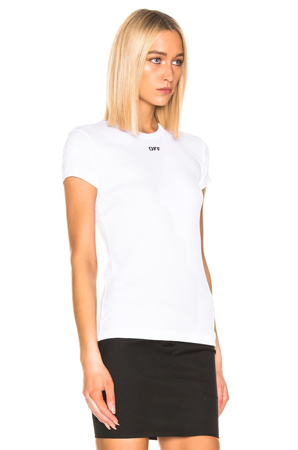 Image 2 of OFF-WHITE Fitted Tee in White & Black