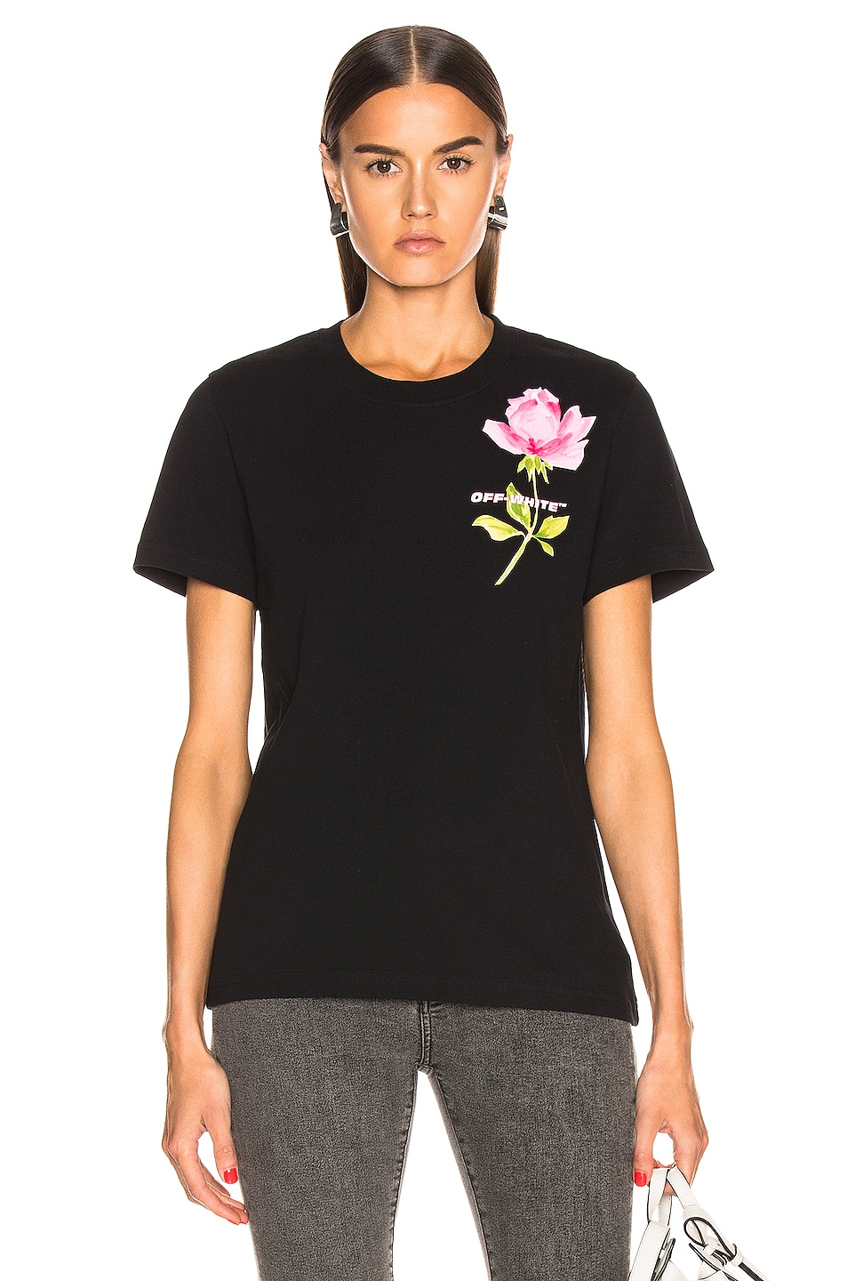 Image 1 of OFF-WHITE Flowers Woman Casual Tee in Black Multi
