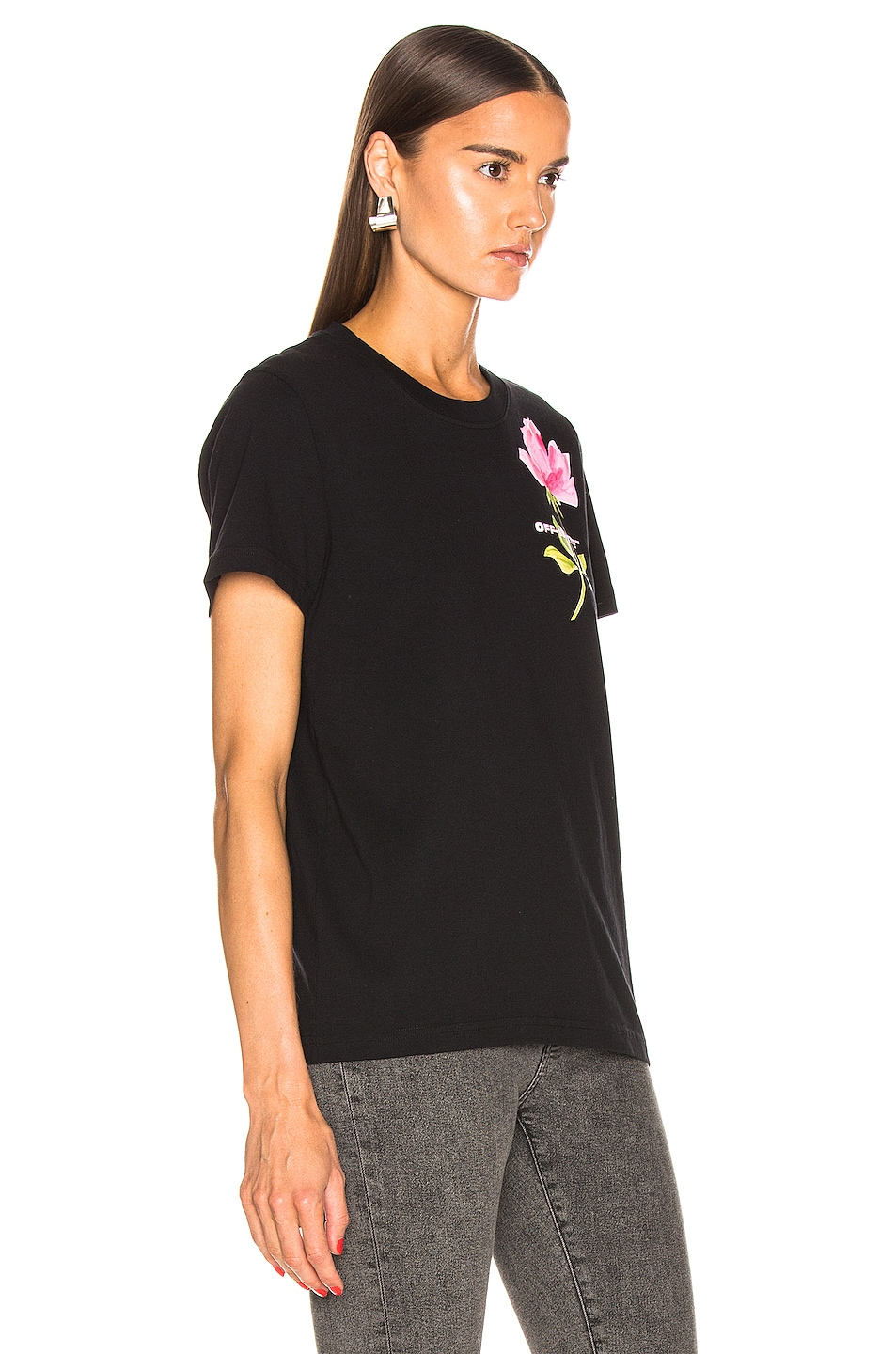 Image 2 of OFF-WHITE Flowers Woman Casual Tee in Black Multi