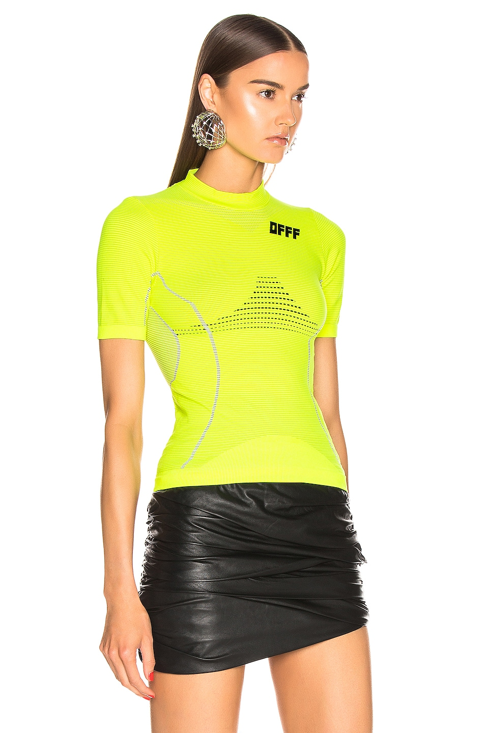 Image 3 of OFF-WHITE Athletic Short Sleeve T Shirt in Fluo Yellow