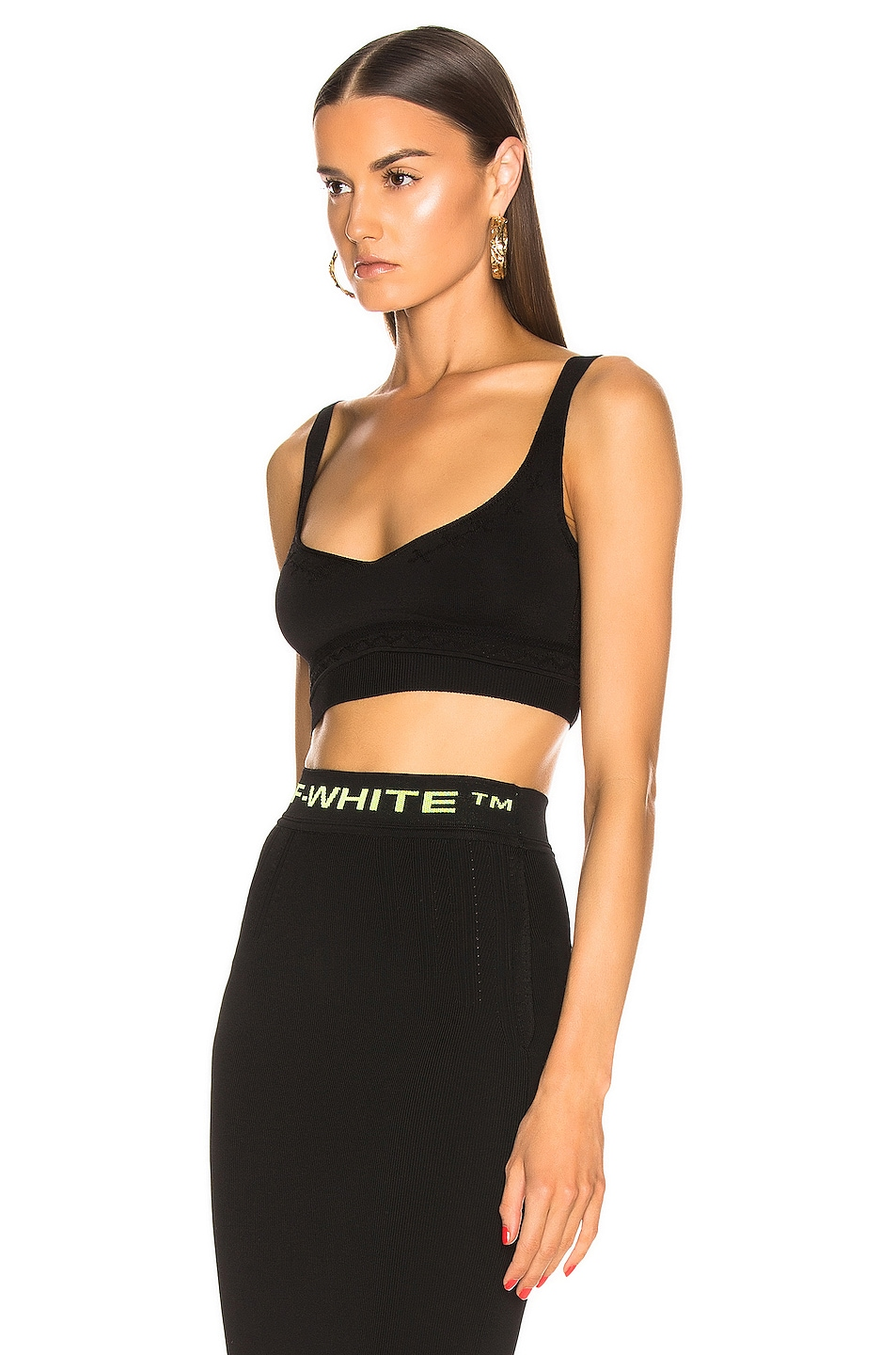 Image 4 of OFF-WHITE Knit Basic Crop Top in Black
