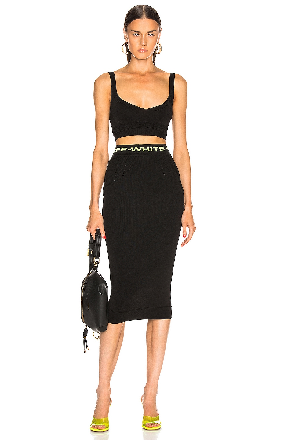Image 6 of OFF-WHITE Knit Basic Crop Top in Black