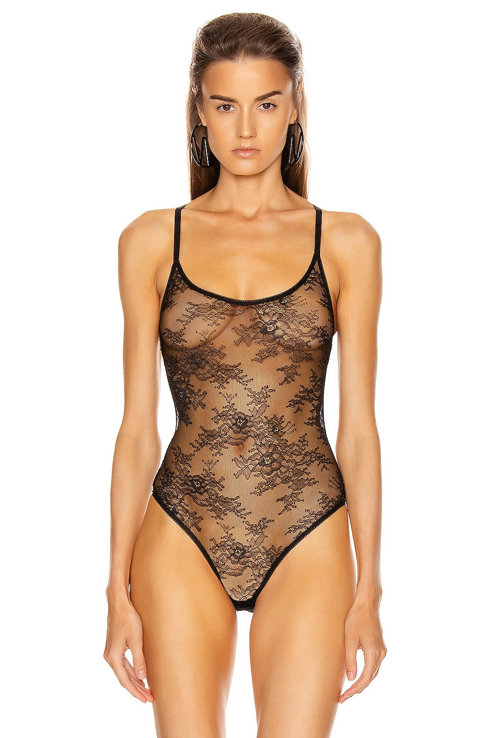 Image 2 of OFF-WHITE Lace Bodysuit in Black