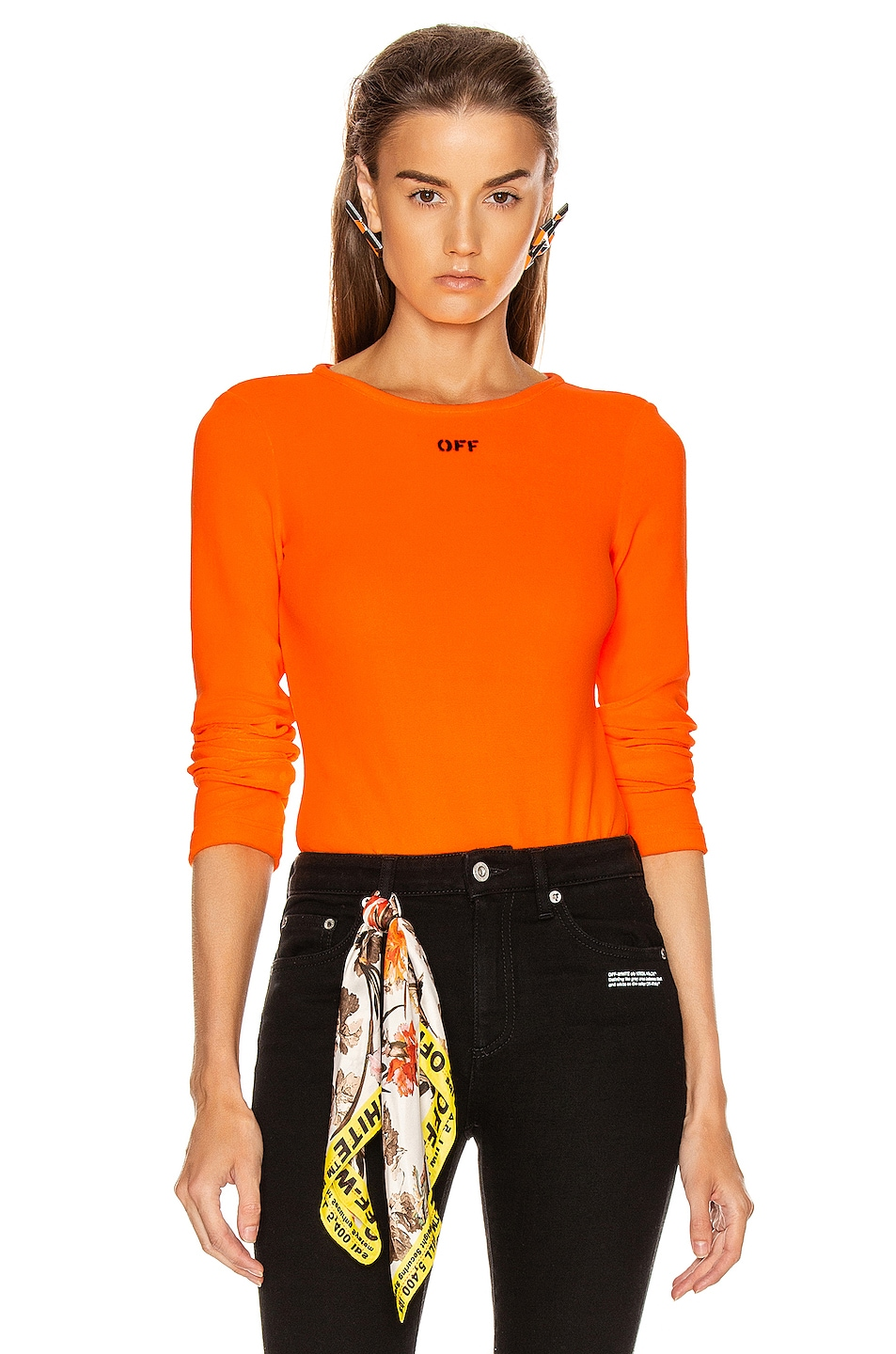 Image 1 of OFF-WHITE Long Sleeve Bodysuit in Orange & Black