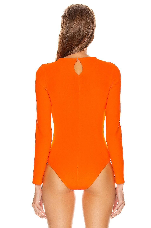 Image 4 of OFF-WHITE Long Sleeve Bodysuit in Orange & Black