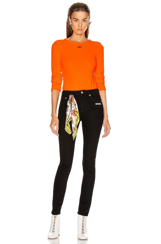 Image 5 of OFF-WHITE Long Sleeve Bodysuit in Orange & Black