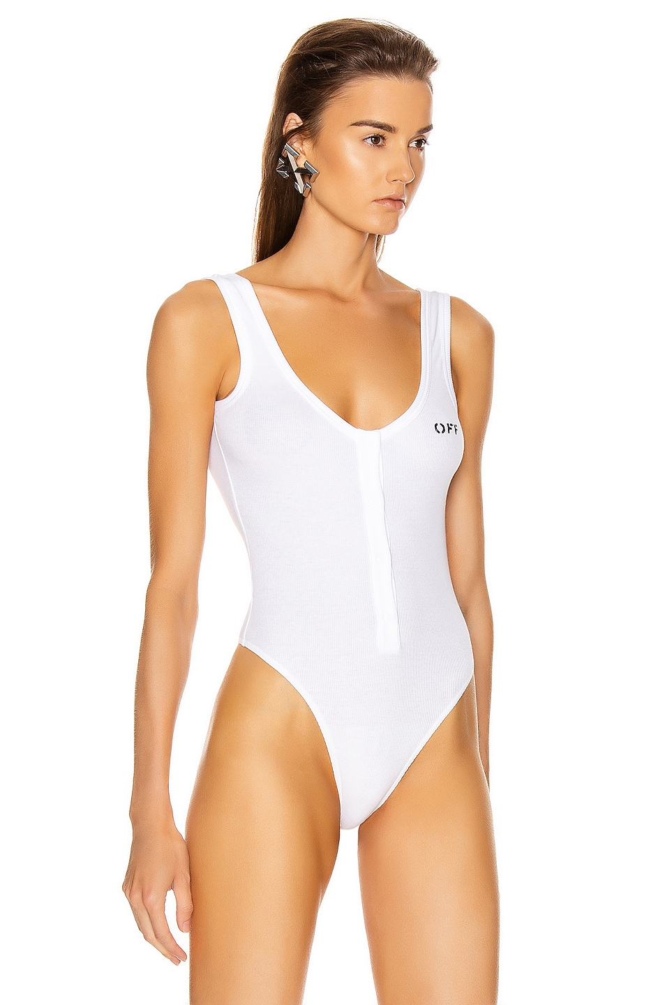 Image 3 of OFF-WHITE Buttoned Up Bodysuit in White & Black