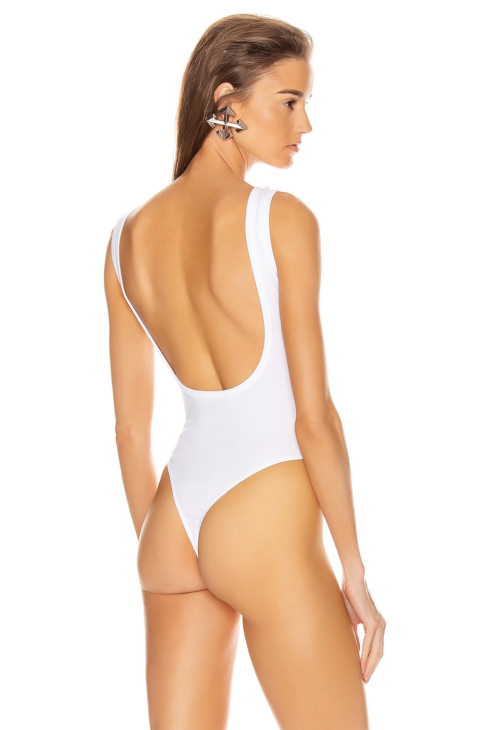 Image 4 of OFF-WHITE Buttoned Up Bodysuit in White & Black