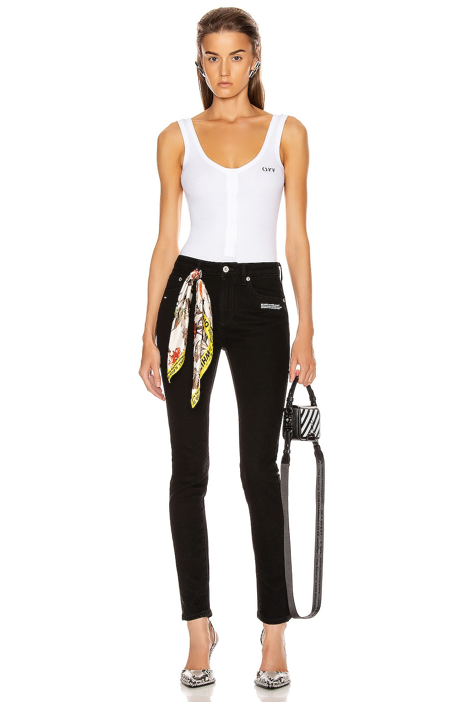 Image 5 of OFF-WHITE Buttoned Up Bodysuit in White & Black