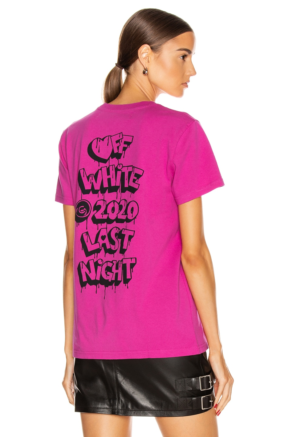 Image 1 of OFF-WHITE Markers Casual Tee in Fuchsia & Black