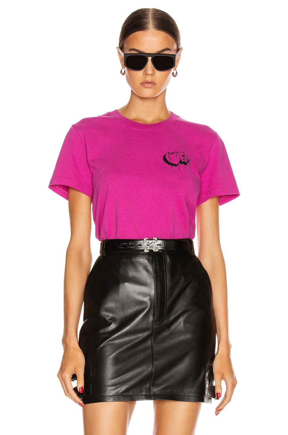 Image 2 of OFF-WHITE Markers Casual Tee in Fuchsia & Black