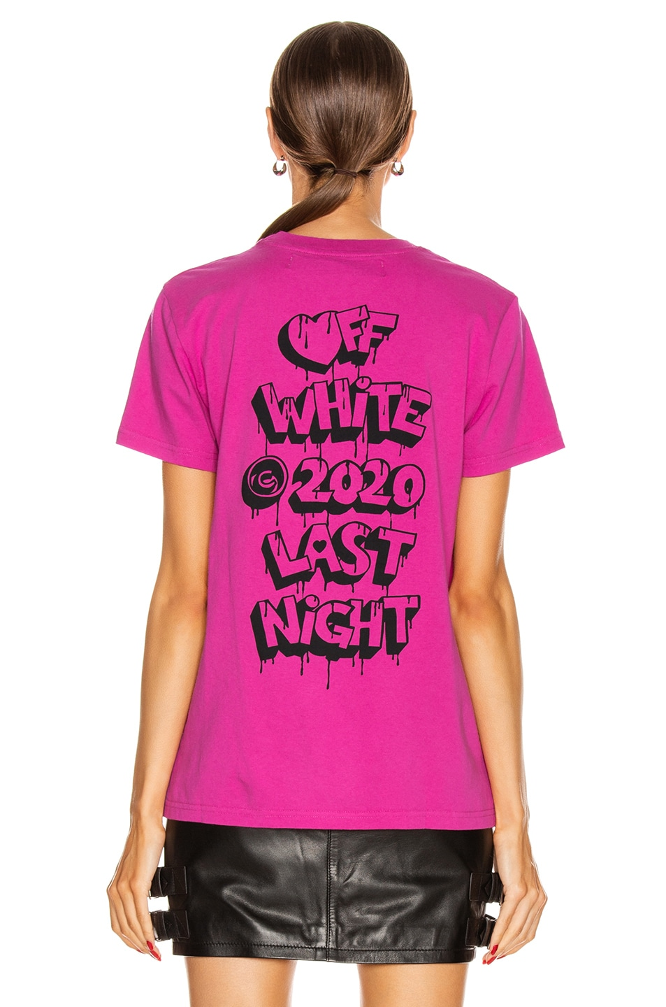 Image 4 of OFF-WHITE Markers Casual Tee in Fuchsia & Black