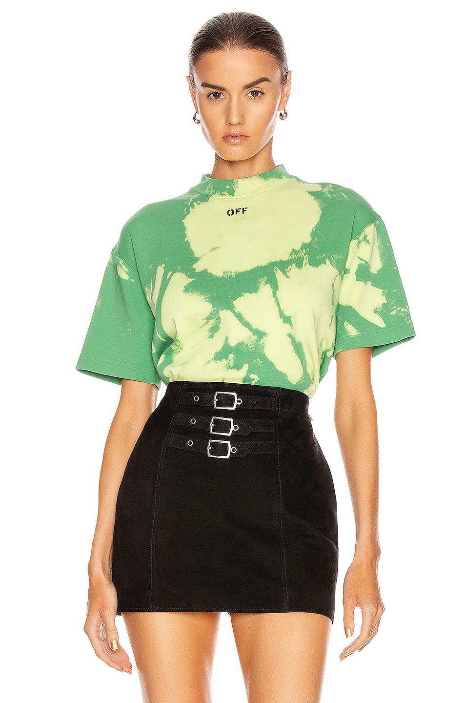 Image 1 of OFF-WHITE Tie Dye Jersey Over T Shirt in Light Green