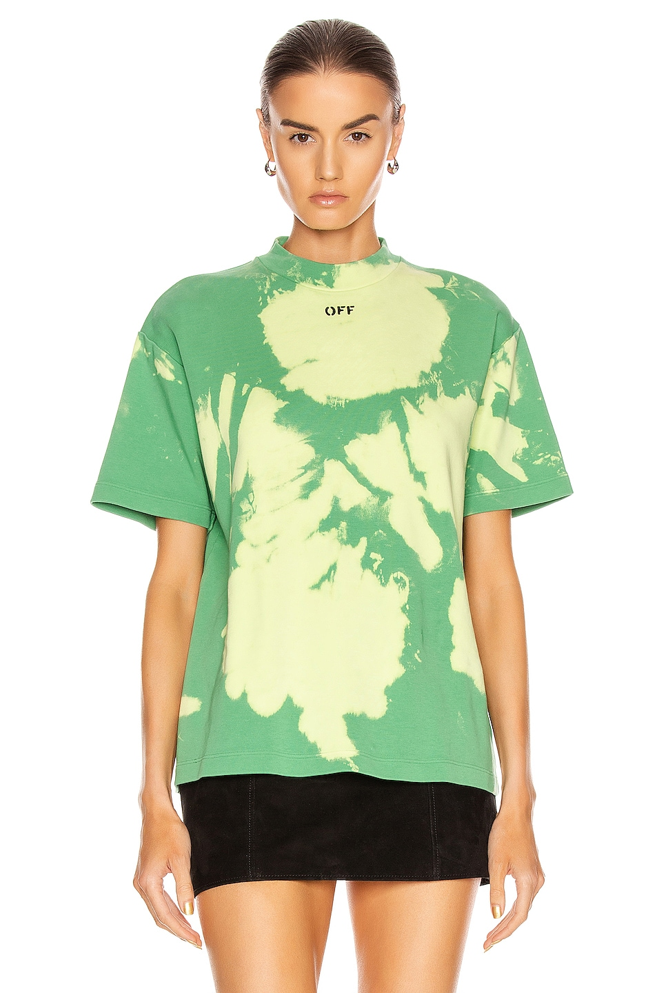 Image 2 of OFF-WHITE Tie Dye Jersey Over T Shirt in Light Green