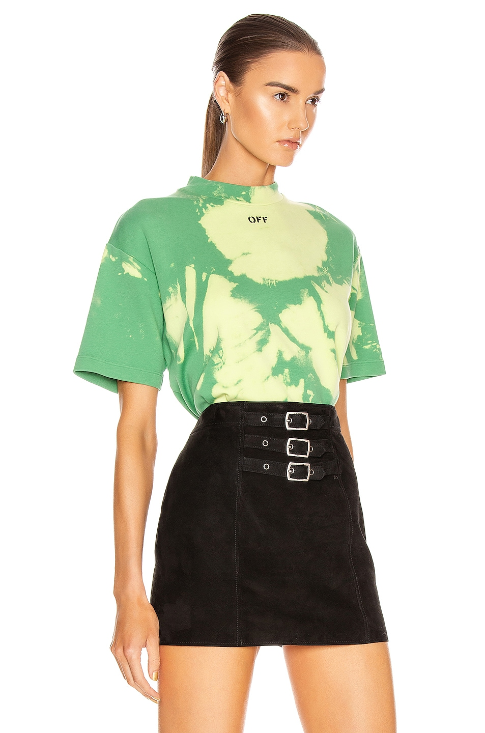 Image 3 of OFF-WHITE Tie Dye Jersey Over T Shirt in Light Green