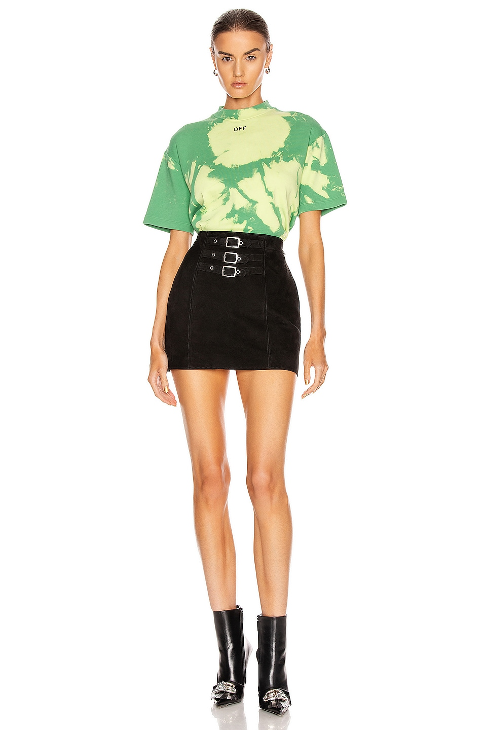Image 5 of OFF-WHITE Tie Dye Jersey Over T Shirt in Light Green