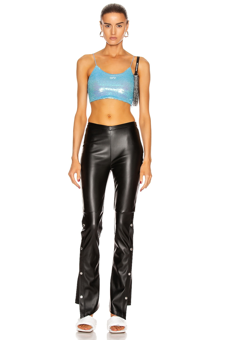 Image 4 of OFF-WHITE Paillettes Crop Top in Light Blue