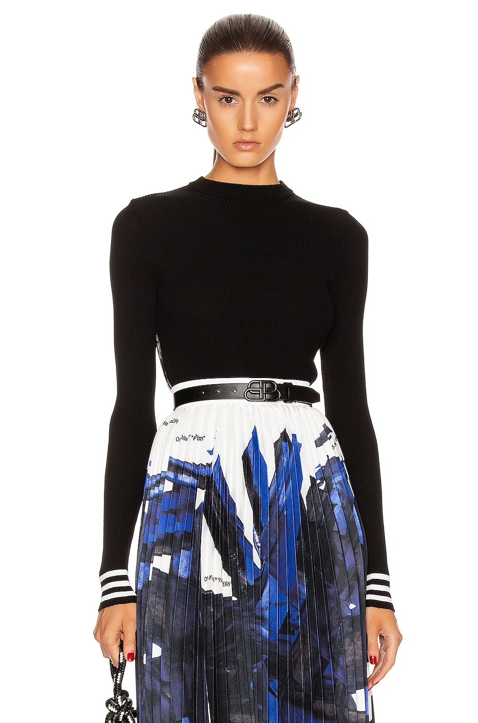Image 1 of OFF-WHITE Knit Industrial Long Sleeve Top in Black