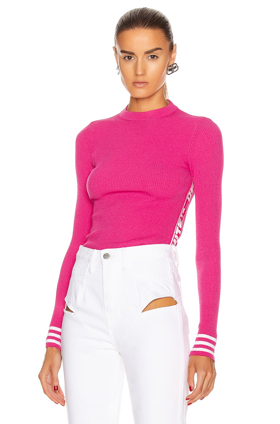 Image 1 of OFF-WHITE Knit Industrial Long Sleeve Top in Fuchsia